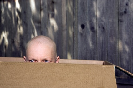 Cancer patient in a box.
